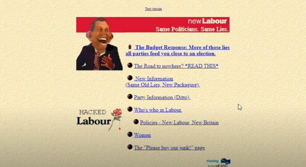 Labour Website Hack 1996
