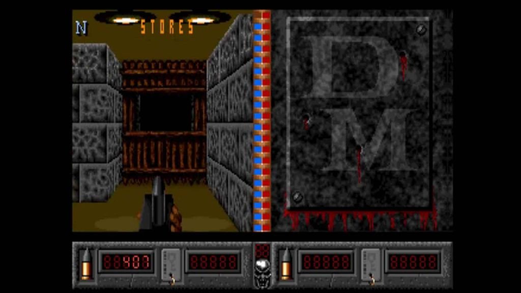 Deathmask in game screen, showing a box and a corridor