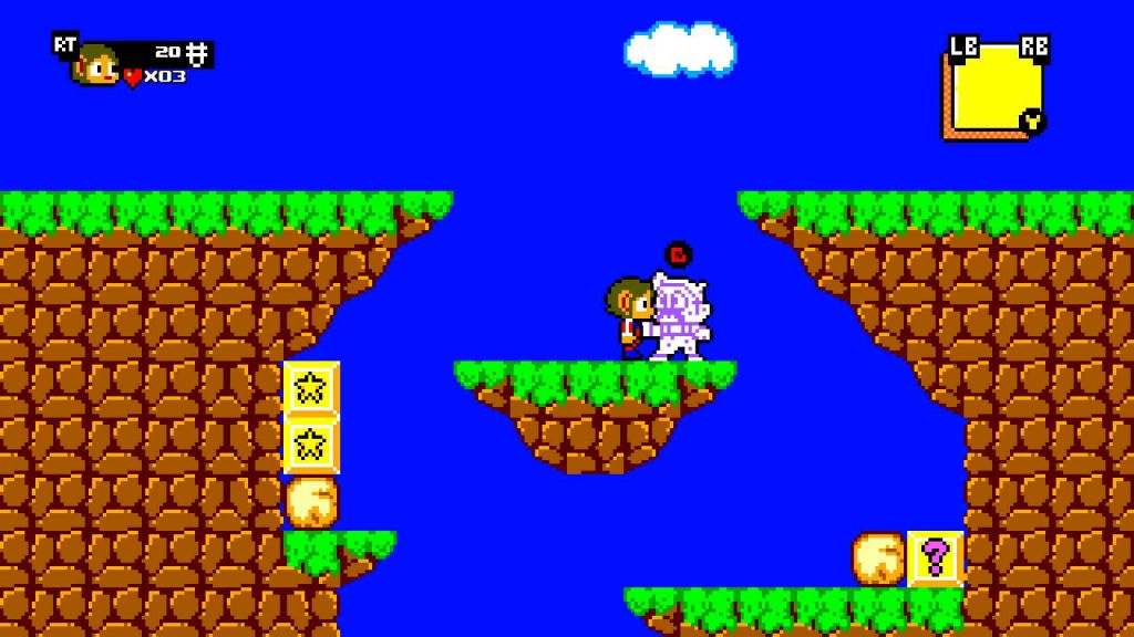 Retro Alex Kidd graphics, looking simple and clean