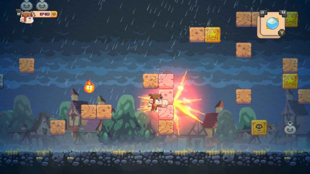Alex Kidd's fist igniting as he punches through some beautifully crafted blocks