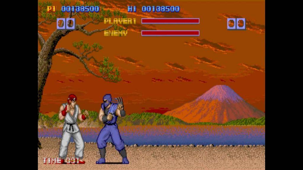 Ryu having a scrap in the original Street Fighter arcade game