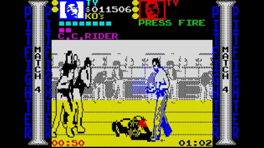 The barely coloured, stretched out imagery of Pit Fighter on the ZX Spectrum