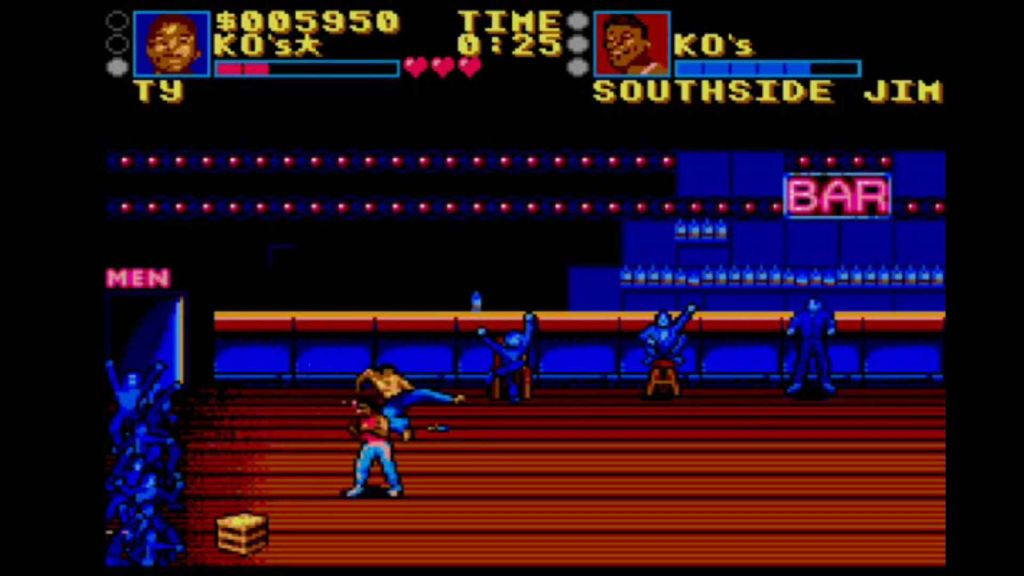 Small sprites, stand in a large bar area on the Master System version of Pit Fighter