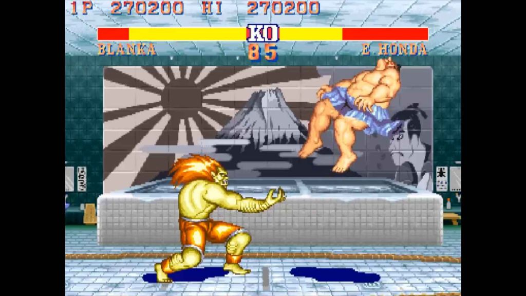Blanka smashing E-Honda into the sky in Street Fighter II World Warrior
