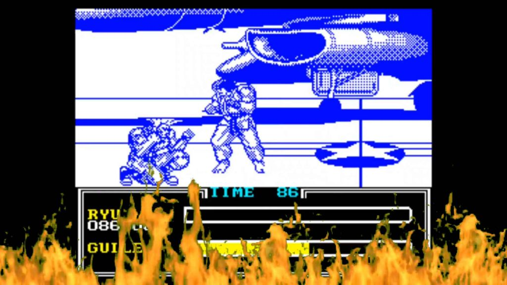 Blue and white Street Fighter 2, Spectrum. Ryu and Guile