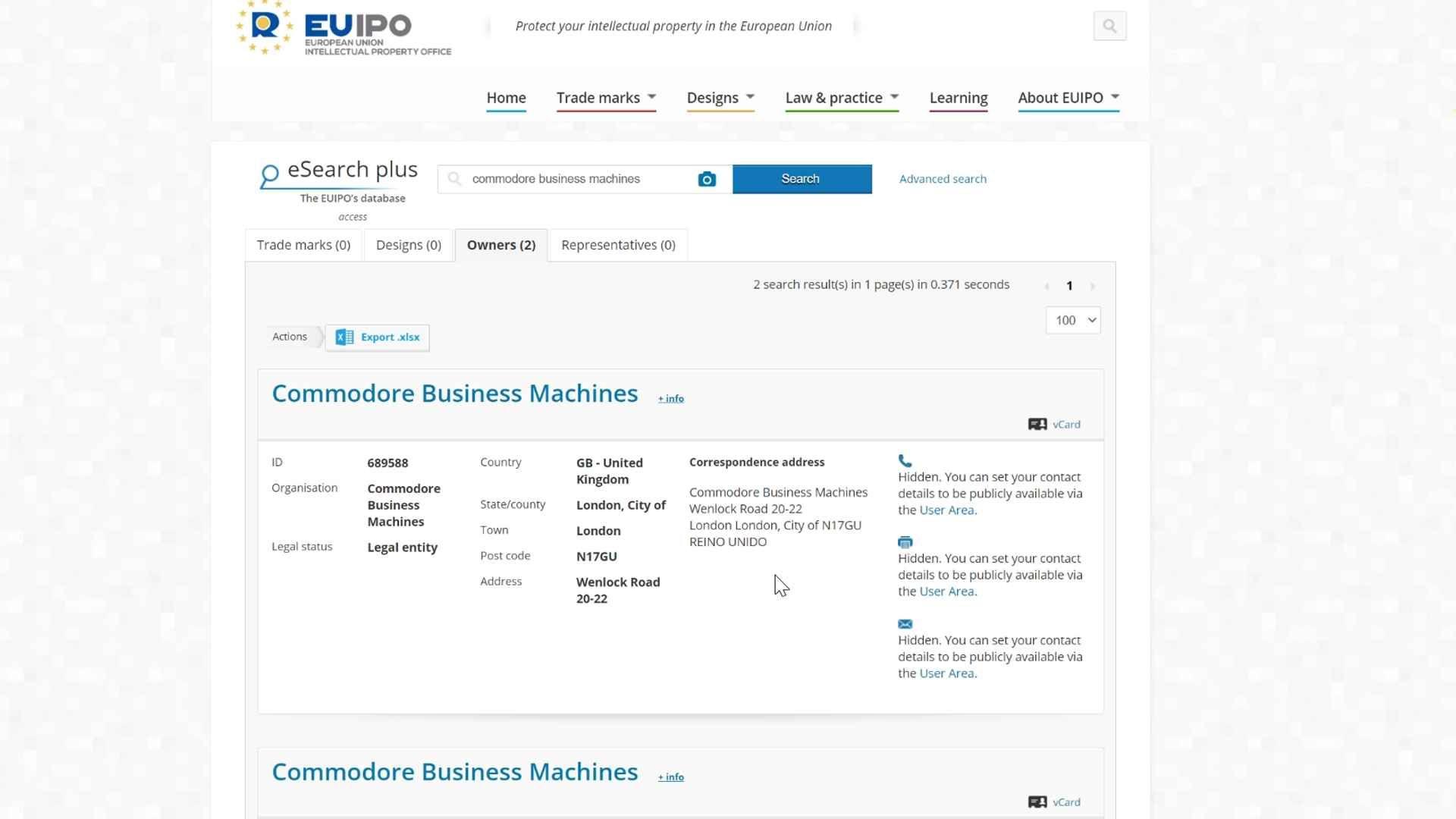 Commodore trademark request at the EUPI