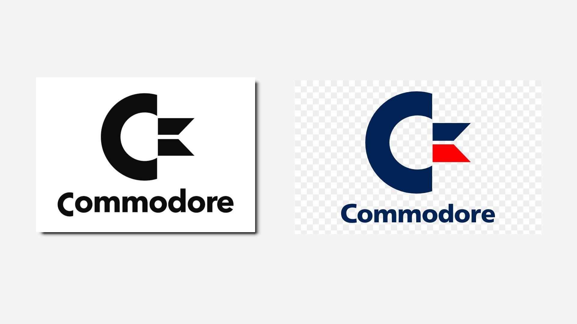 """Two Commodore logos. The one on the left has a misaligned """"C"""""""