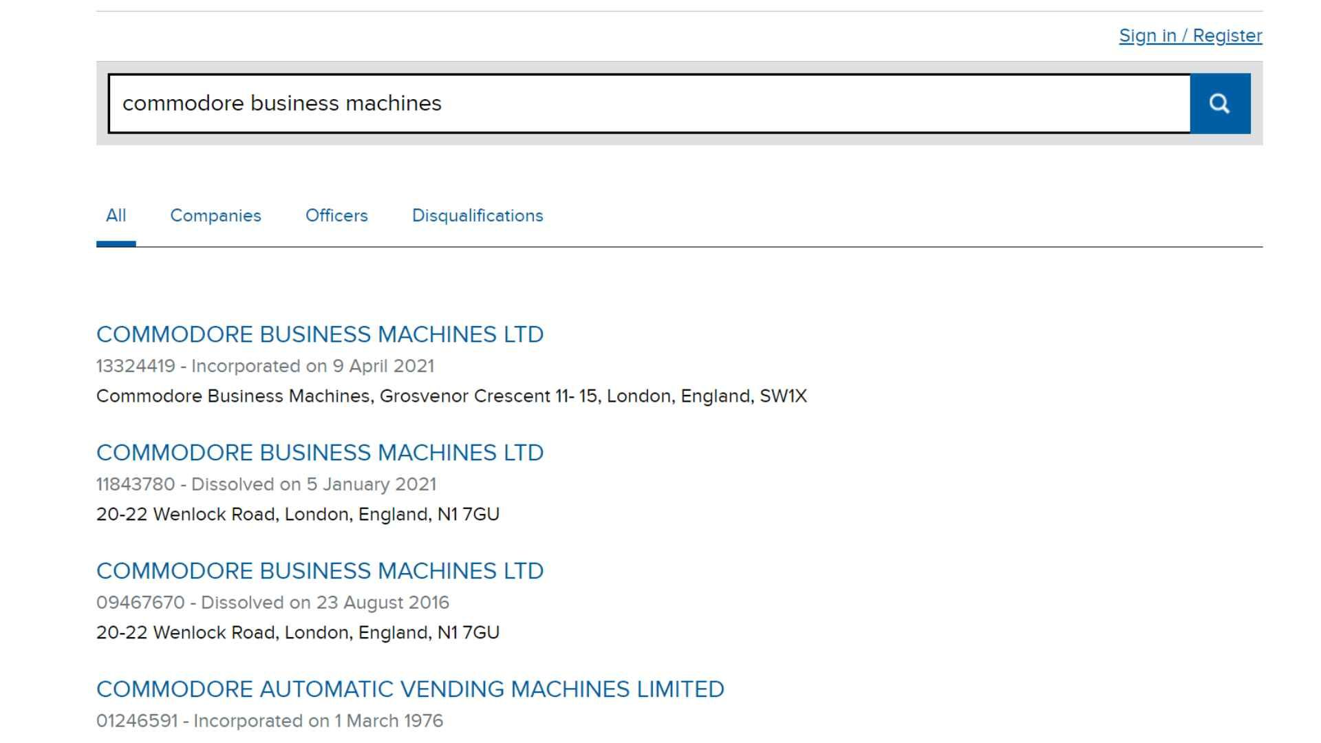 Three Commodore Business Machines companies listed on Companies House