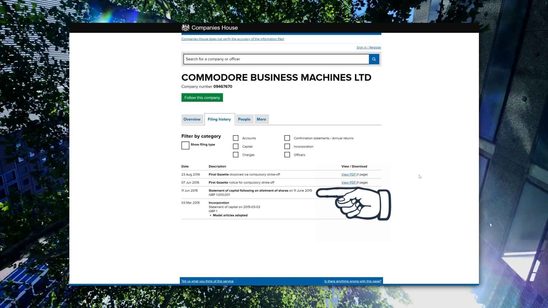 Injection of £1m into the business shown on Companies House