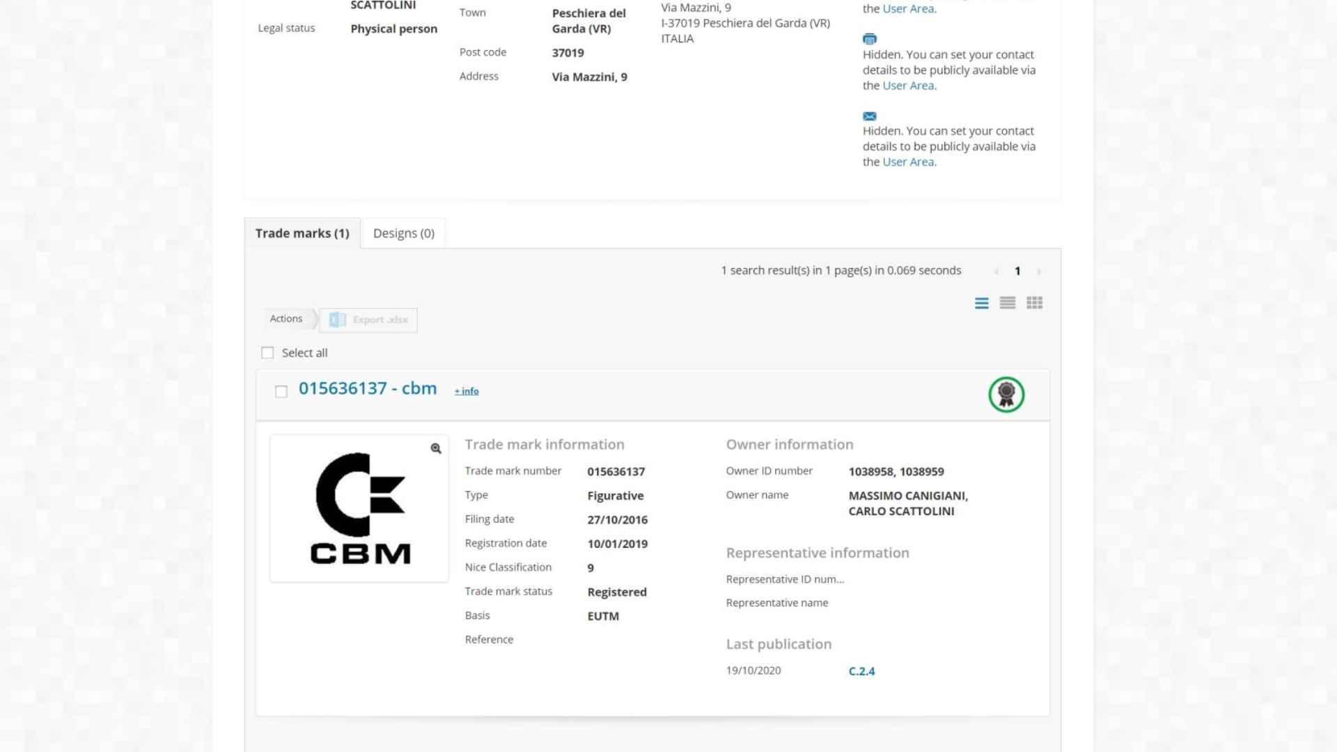 New trademark registration of CBM, with figurative CBM logo