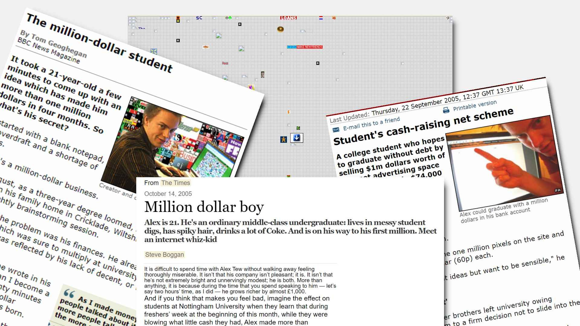 Media Coverage for Alex Tew's Million Dollar HomePage