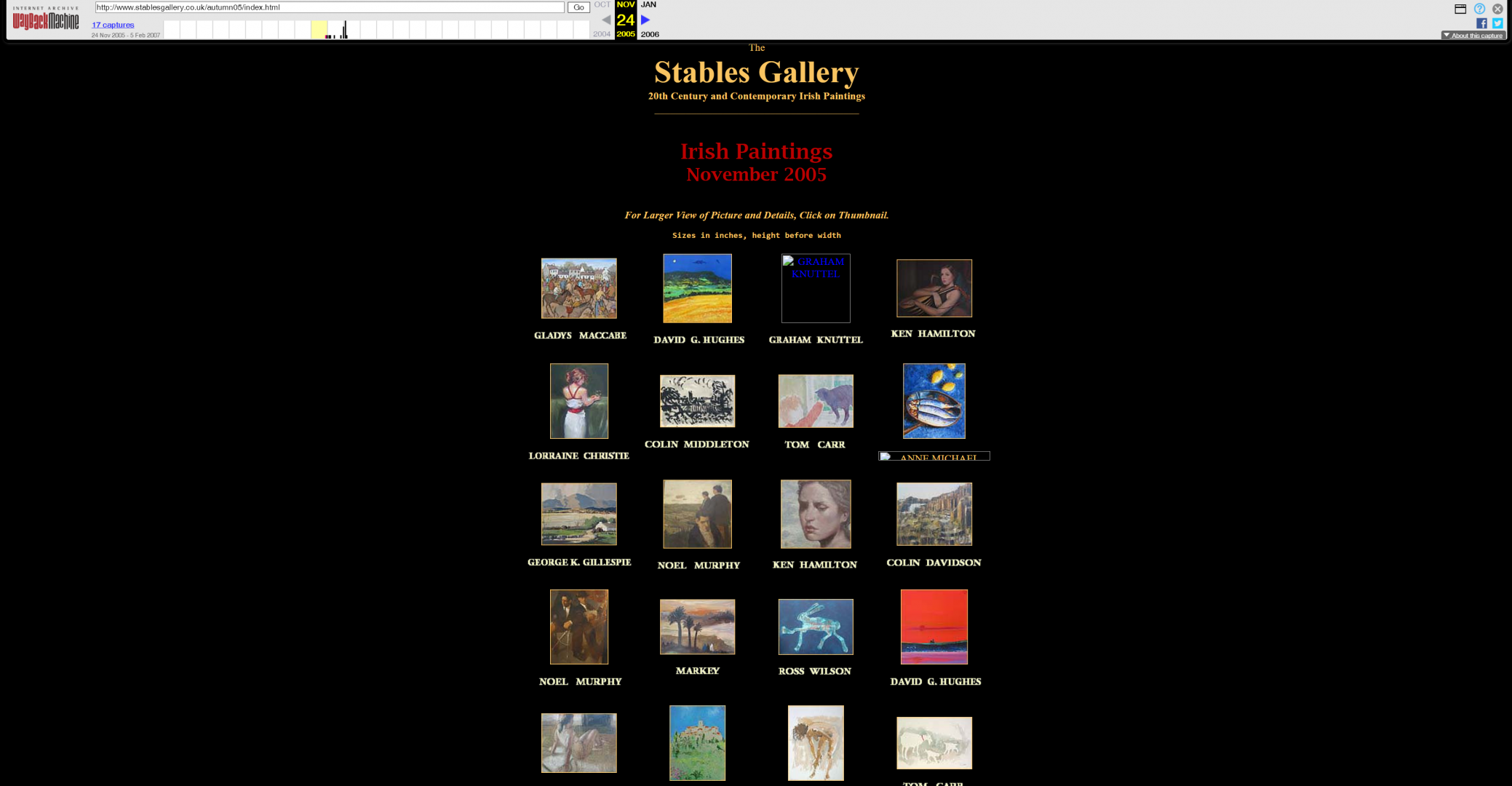 Stables Gallery now, looking very, well, 1998 if I'm totally honest. A few pictures against a black background.