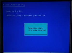 Formatting Windows 98