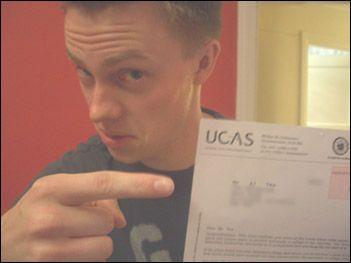 Alex Tew holding a UCAS form