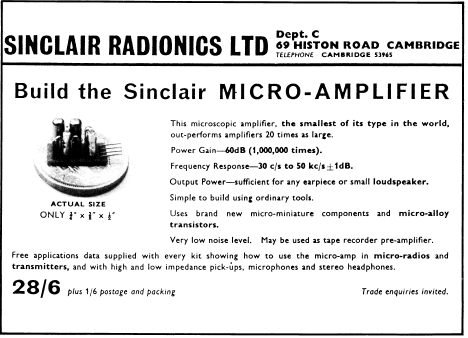 One of Sinclair's first adverts