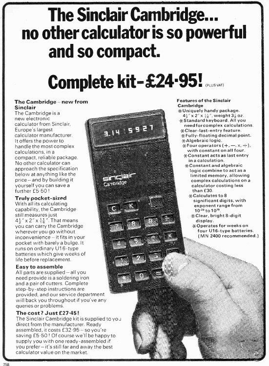 Pocket calculator advert