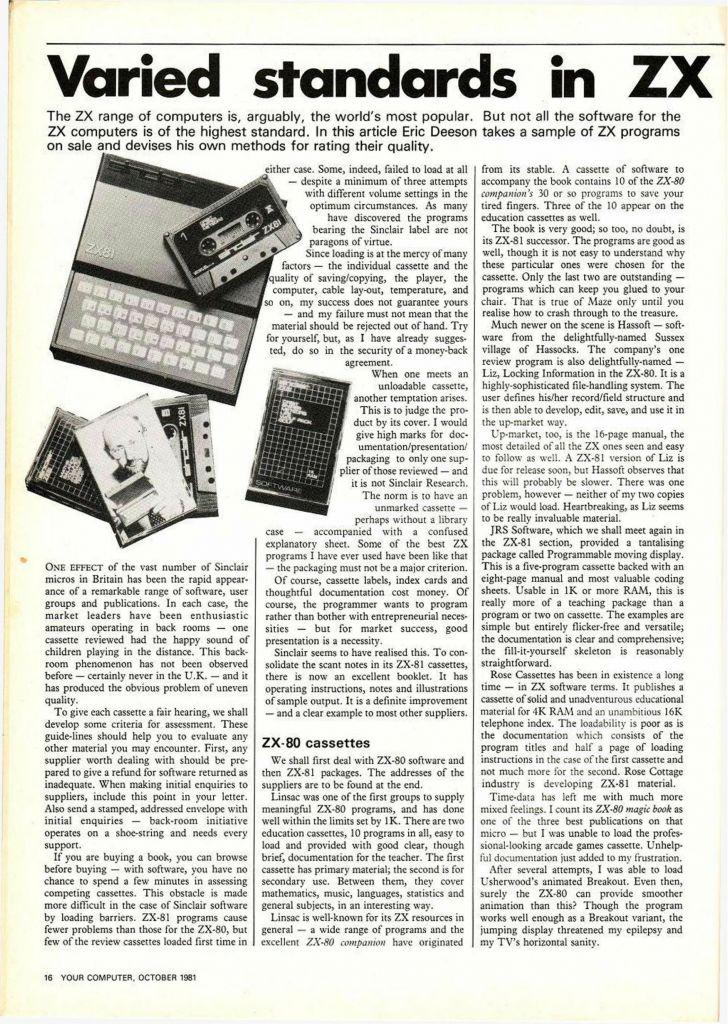ZX81 Magazine Article