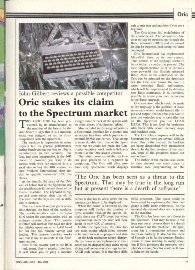 Sinclair User Oric Article