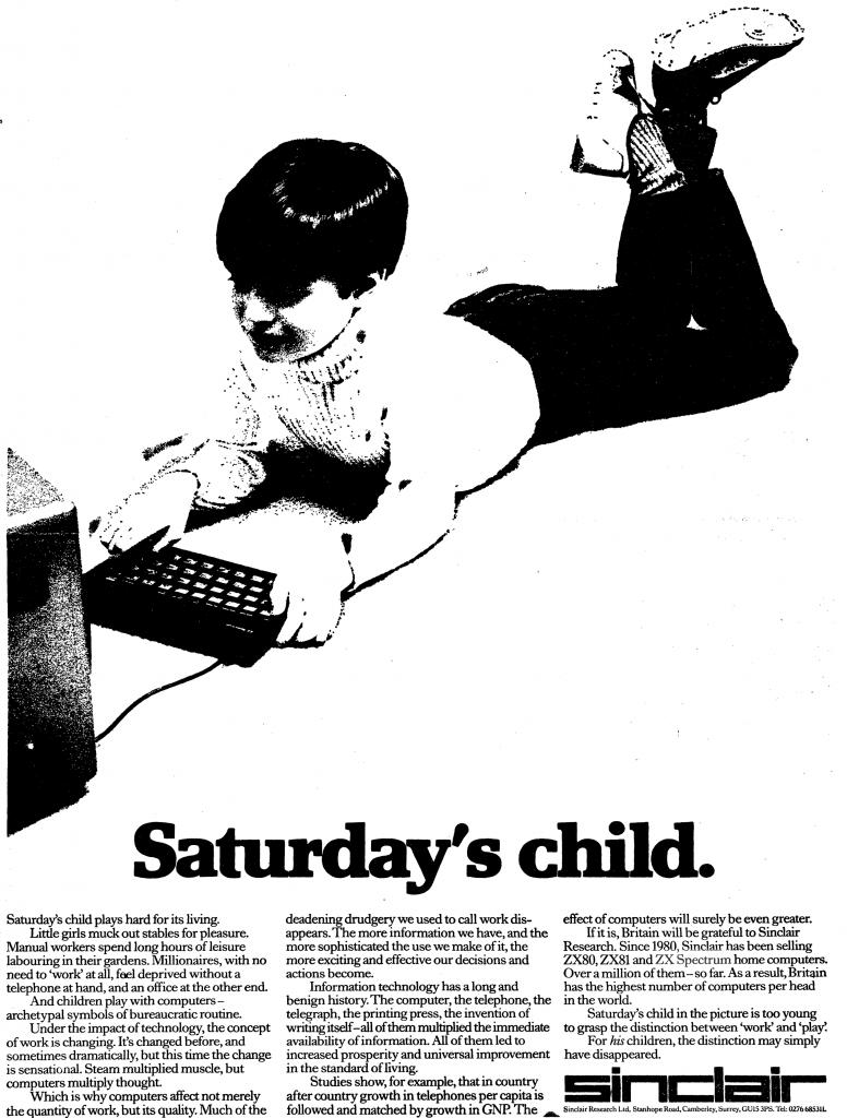 A Sinclair advert aimed at children